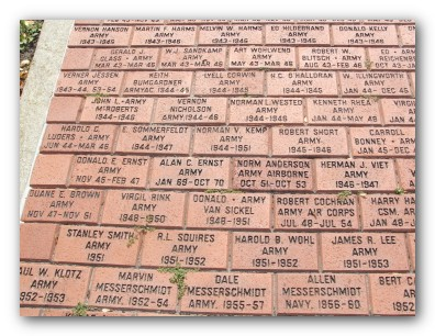 Dedicated Bricks at Veterans Park
